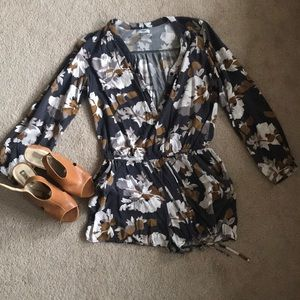 Grey and brownish flower printed romper